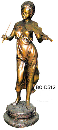 Bronze Lady Playing Violin Statues - ASI BQ-D512