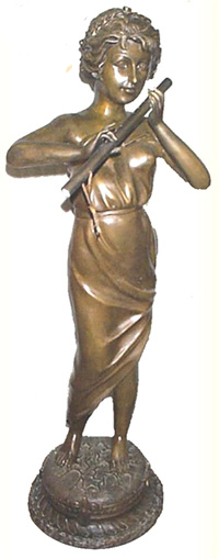 Bronze Lady Playing Flute Statues - ASI BQ-D515