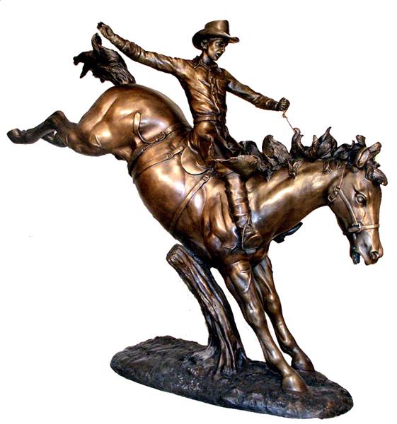 Bronze Cowboy on Horse Statues - ASI BQ-F370