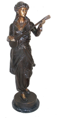 Bronze Lady Playing Mandolin Statues - ASI BQ-G149