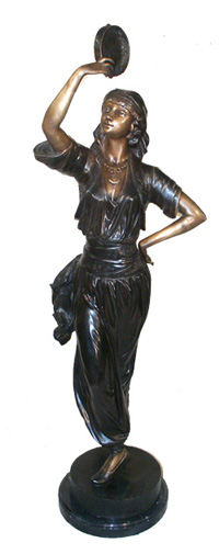Bronze Tamborine Lady Statues - ASI BQ-G153