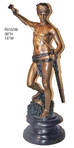 Bronze David w/ Goliath Statue - ASI F010-38