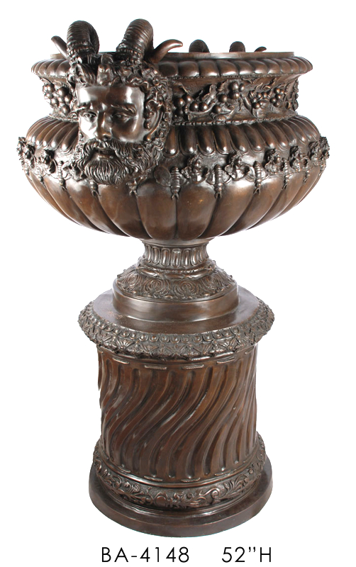 Bronze Horn Faced on Column Urn - ASI BA-4148