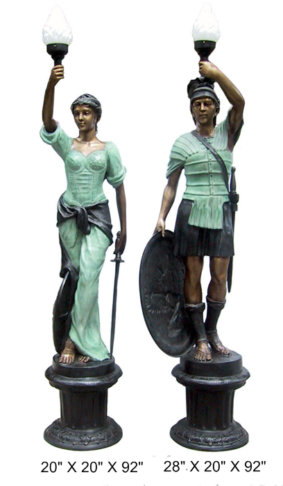 Bronze Roman Warrior & Woman Lamps - DD BL2-01