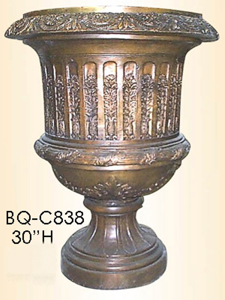 Bronze Urn with Flower Design - ASI BQ-C838