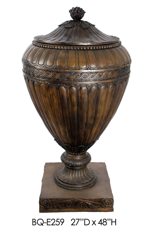 Bronze Lobbed Urn with Lid - ASI BQ-E259