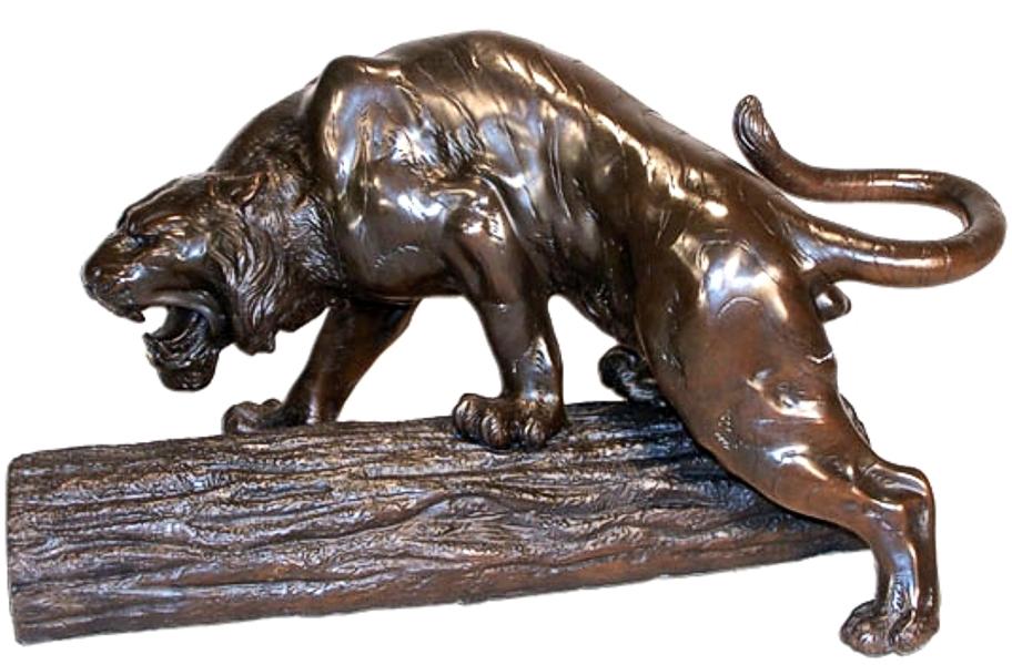 Bronze Attacking Panther Statue - ASI BQ-G239