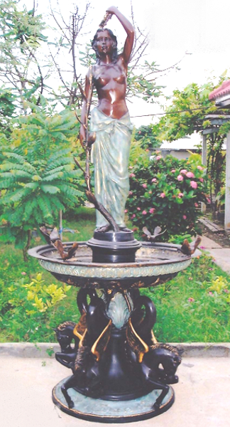 Bronze Lady & Horse Fountain - DK 1284A