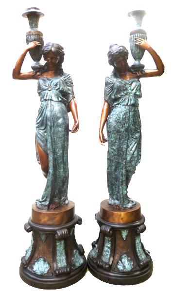 Bronze Ladies Lamps Torchieres - DK 1411