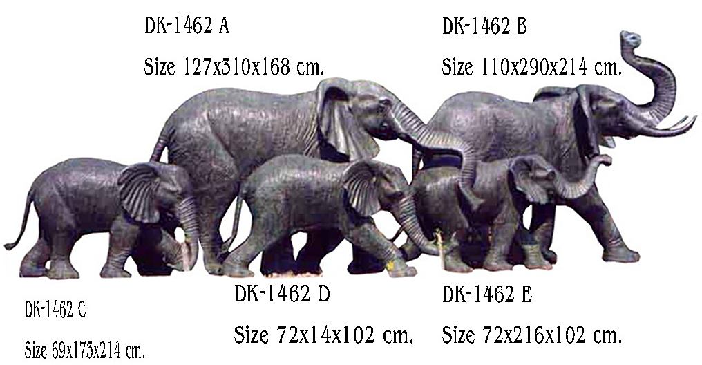 Bronze Elephant Statue - DK 1462 A-E
