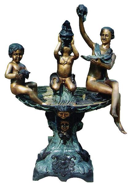 Bronze Mom & Children Holding Shell Fountain - DK 1761