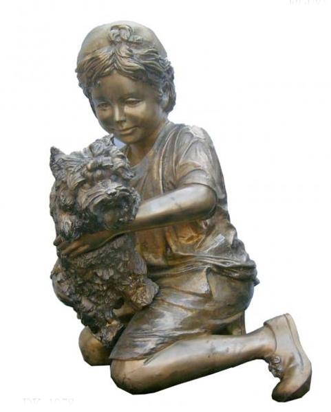Bronze Boy & Dog Statue - KT DK-1978