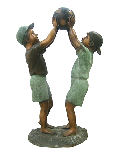 Bronze Boys Playing Basketball Statue - DK 1986
