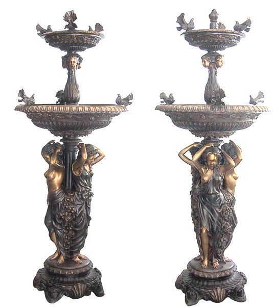 Bronze Ladies Birds Tiered Bowl Fountain - DK 2085B
