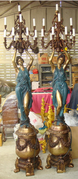 Bronze Ladies Lamps Torchieres - DK 2091