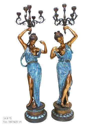 Bronze Beautiful Maiden Lamps (NEW) - DK 2175