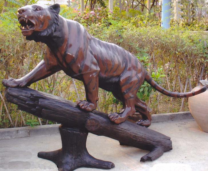 Bronze Tiger in Tree Statue - DK 2196