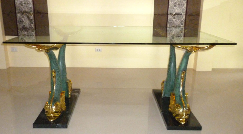 Bronze 4 Fish Marble Base Table - DK 2292