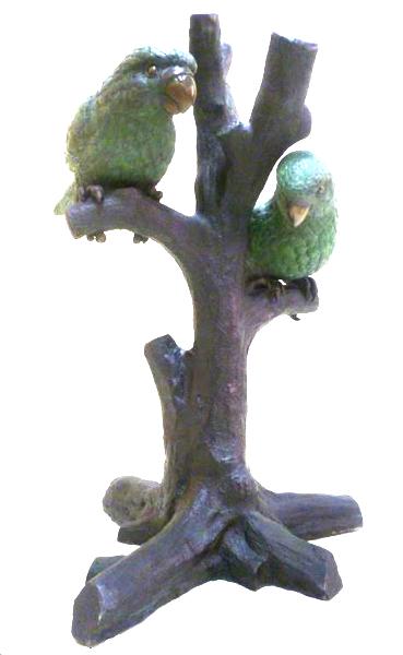 Bronze Parrots in Tree Statue - DK 2366