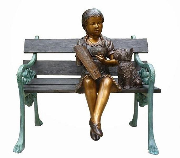 Bronze Child on Bench Reading - DK 2512
