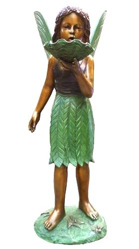 Bronze Angel Girl w/Shell Statue - DK 2520