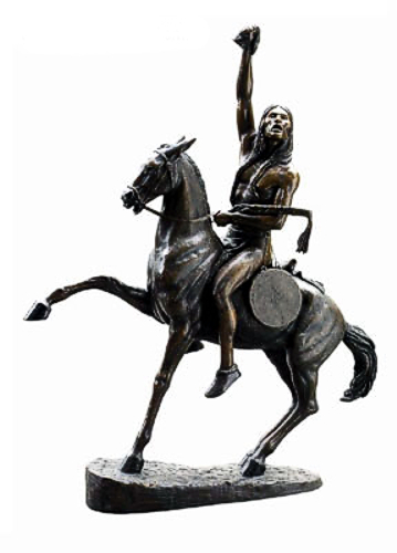 Bronze Indian on Horse Statue - DD E-069