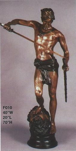 Bronze David With Goliaths Head Statue - ASI F-010
