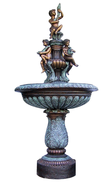 Bronze Children & Fish Fountain - DD F-053