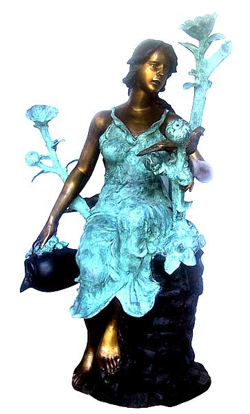 Bronze Lady Urn Fountain - DD F-093