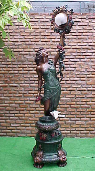 Bronze Lady Lamp Fountain - PA F-1055