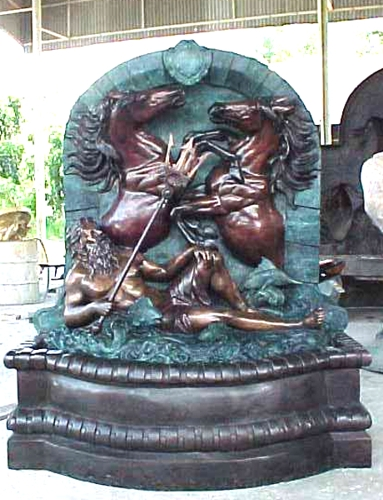 Bronze King Neptune & Horses Fountain - PA F-1082