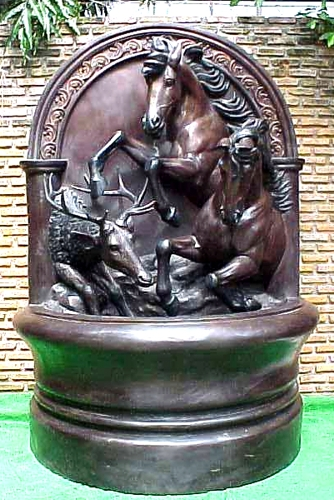 Bronze Horse & Deer Wall Fountain - PA F-1085