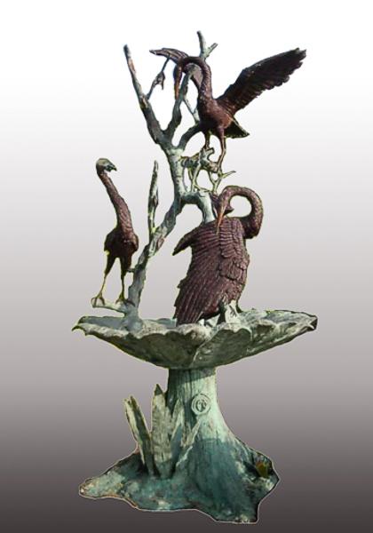 Bronze Crane Fountains - PA F-1091