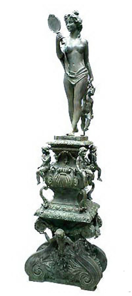 Bronze Lady Mirror Statue - DD S-132