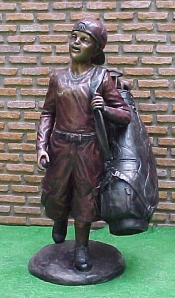Bronze Boy Golf Caddy Statue - PA G-1030