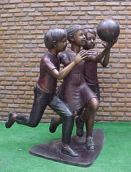 Bronze Boys & Girl Playing Basketball Statue - PA G-1031