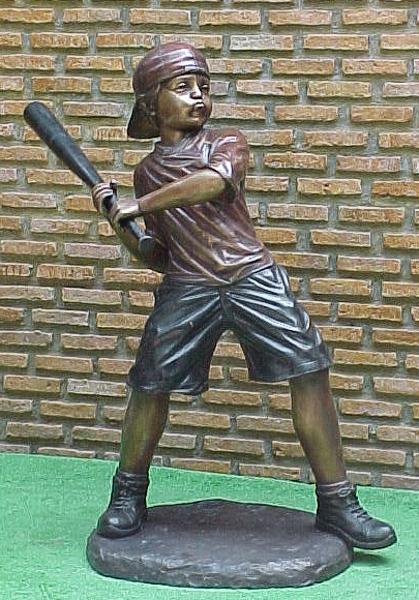 Bronze Baseball Batter Statue - PA G-1033