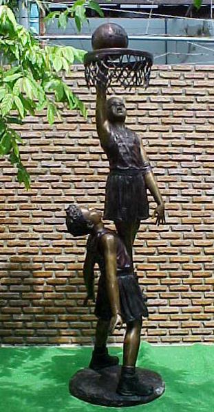 Bronze Kids Basketball Statue - PA G-1036