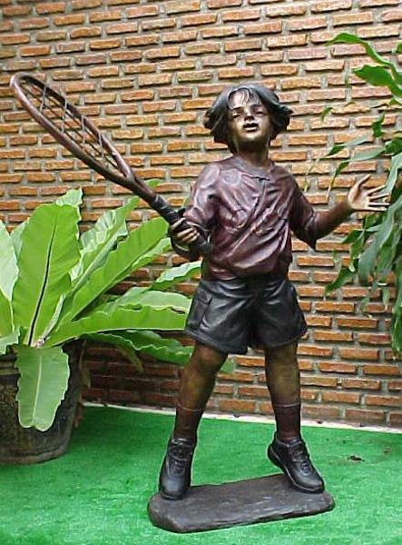 Bronze Boy Tennis Player Statue - PA G-1038