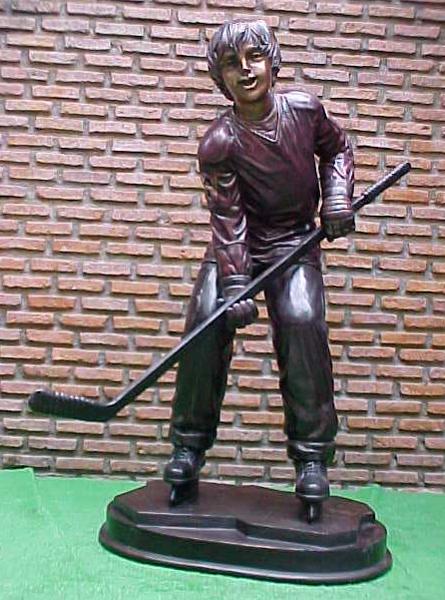 Bronze Boy Playing Ice Hockey Statue - PA G-1048