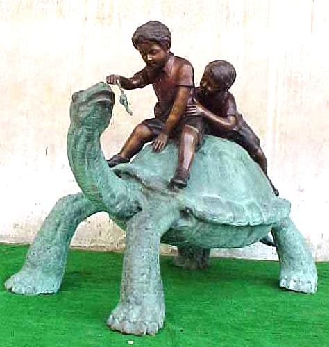 Bronze Boys Rideing Turtle Statue - PA G-1053