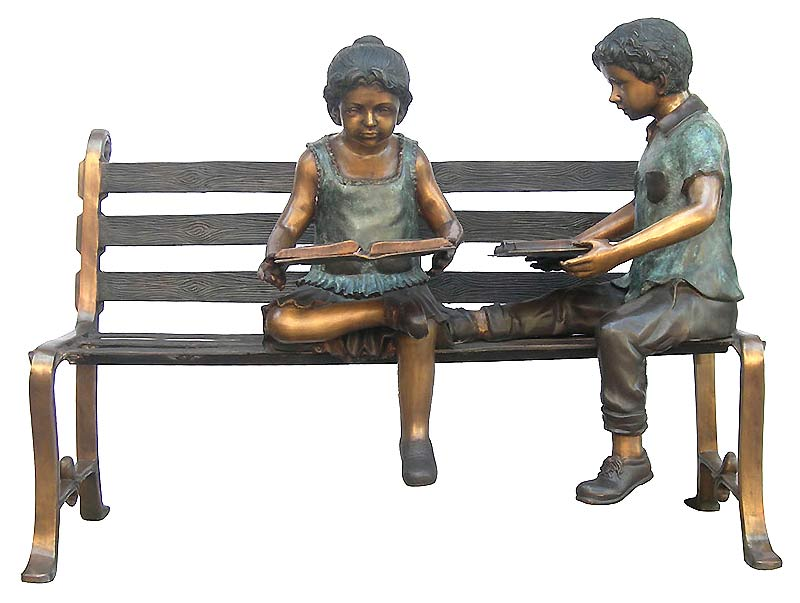 Bronze Children Bench Reading - CP GD0165