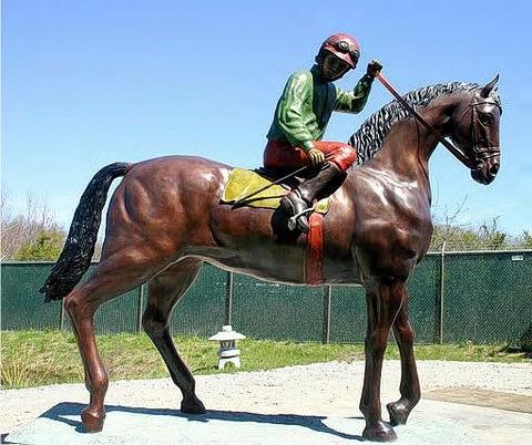 Bronze Jockey on Horse Statues - ASI JH-149