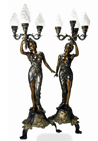 Bronze Ladies Torchiere Lamps - DD L-007