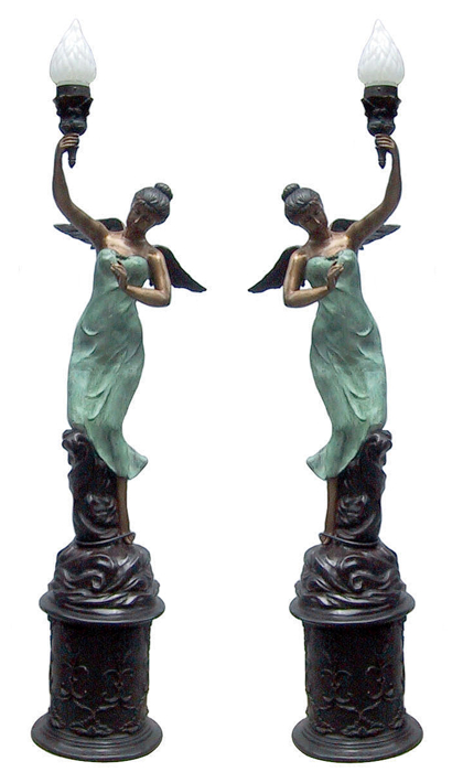 Bronze Ladies Torchiere Lighting - DD L-022