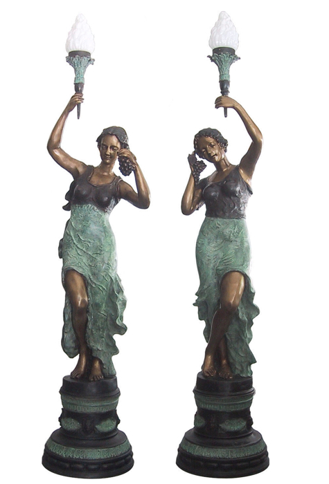Bronze Ladies Torchiere Lamps - DD L-023