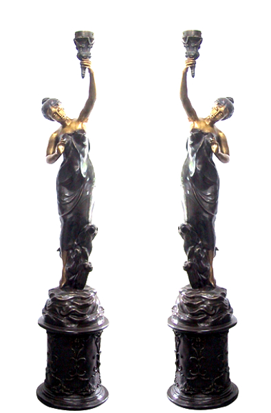 Bronze Ladies Torchiere Lighting - DD L-024