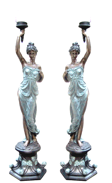 Bronze Ladies Torchiere Lighting - DD L-029