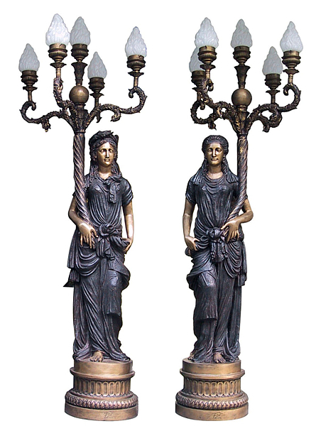 Bronze Ladies Torchiere Lighting - DD L-030