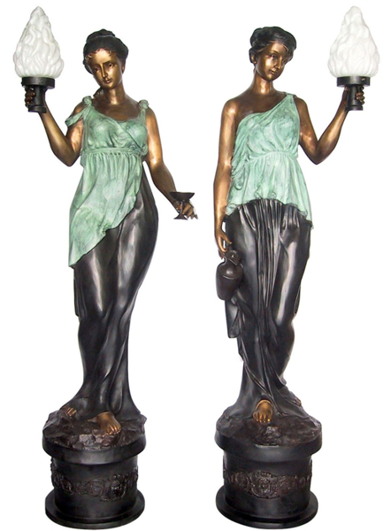 Bronze Ladies Torchiere Lighting - DD L-031